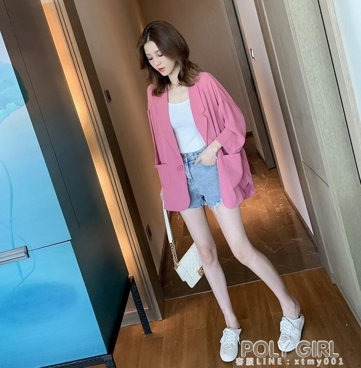 夏日新裝-網紅炸街小西裝外套女夏天韓版寬鬆英倫風休閒薄款小西服春秋上衣