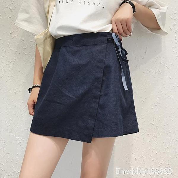 棉麻裙 新款夏適合胯大腿粗的短褲棉麻五分褲女裙褲一體 假兩件顯瘦 瑪麗蘇