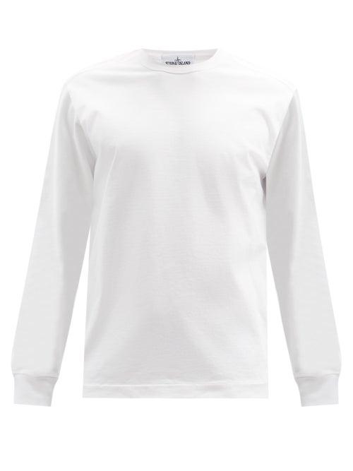 Stone Island - Logo-patch Garment-dyed Cotton-jersey Sweatshirt - Mens - White