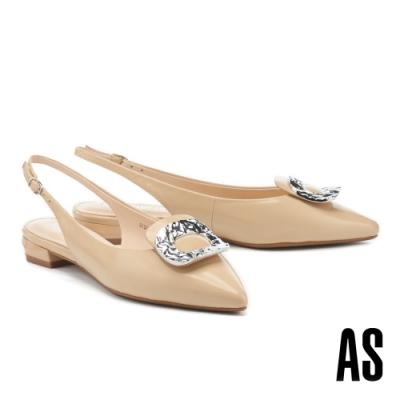 低跟鞋 AS 個性金屬大釦後繫帶造型全羊皮尖頭低跟鞋-米