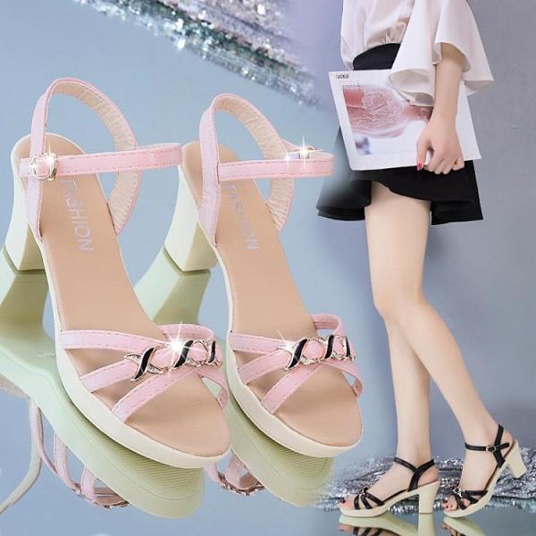 時裝涼鞋女夏季2021新款中跟涼鞋時尚百搭小香風潮流女鞋舒適露趾 8號店