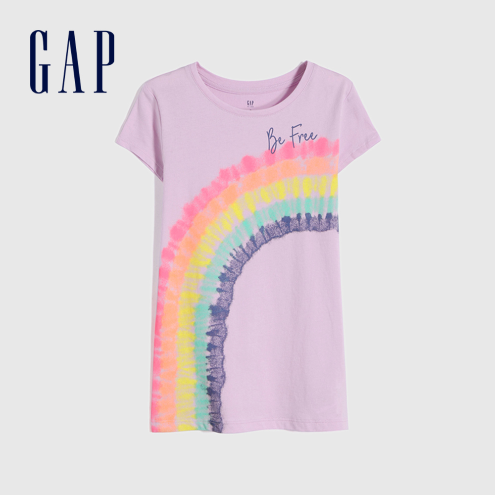 Gap 女童 創意印花透氣圓領T恤 791357-淺紫色