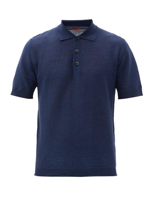 Barena Venezia - Marco Linen-blend Polo Shirt - Mens - Navy