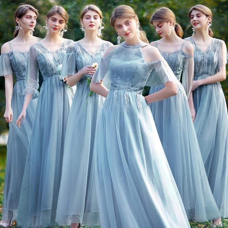 伴娘服洋裝 伴娘禮服女 2021平時可穿姐妹團仙氣質顯瘦創意簡單特別長款秋冬裝