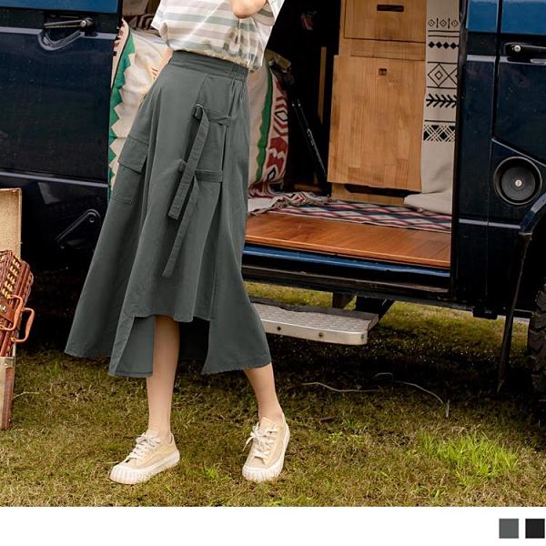 《CA2292-》高含棉不對稱綁帶設計鬆緊工裝裙 OB嚴選