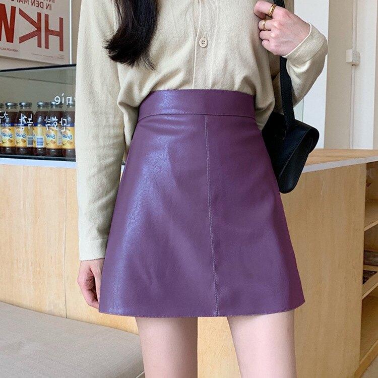 A字裙 小皮裙女新款黑色紫色夏天薄款高腰A字ins秋冬短裙包臀半身裙