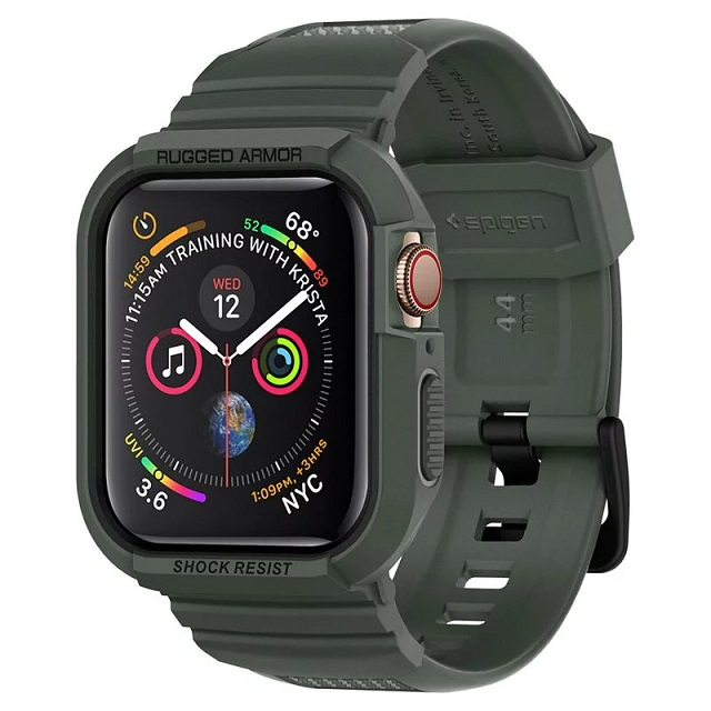 Spigen Apple Watch Sereis SE/6/5/4 (44mm) Rugged Armor Pro-防摔保護殼專業版(錶帶一體成型:軍綠) 062CS26016