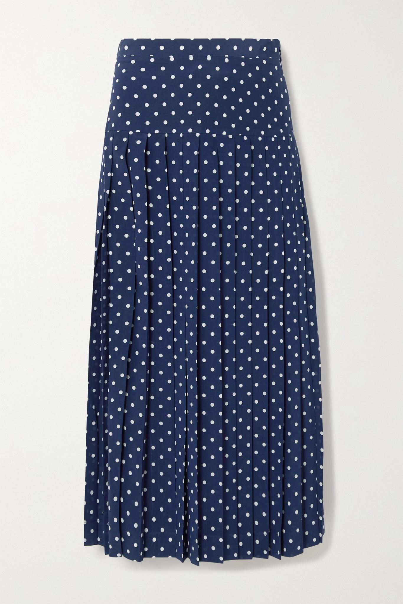 ALESSANDRA RICH - Pleated Polka-dot Silk Midi Skirt - Blue - IT40