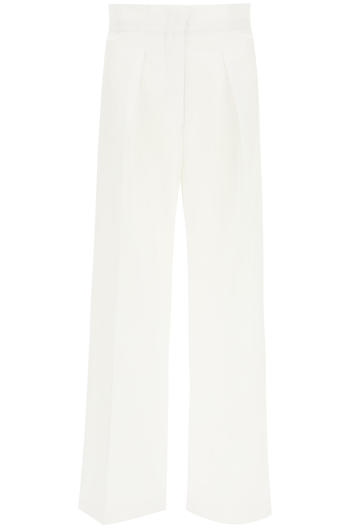 SPORTMAX VISONE COTTON TROUSERS 42 White Cotton