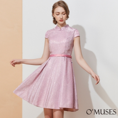 OMUSES 金蔥旗袍晚宴伴娘短禮服