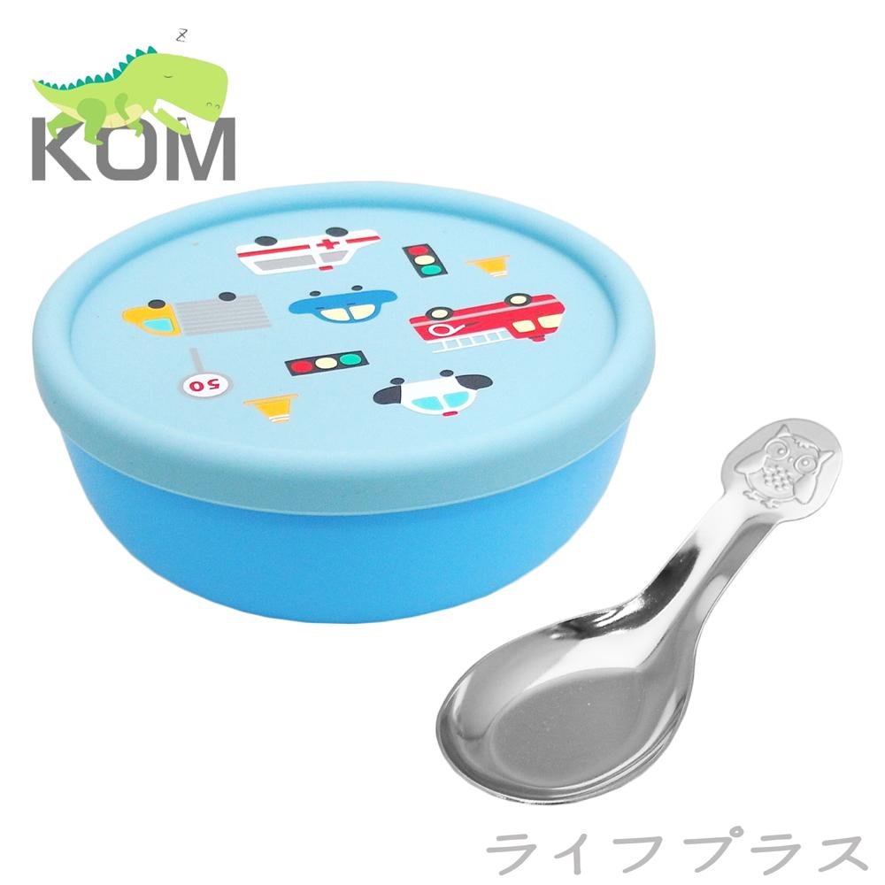食品級矽膠隔熱碗-藍色汽車