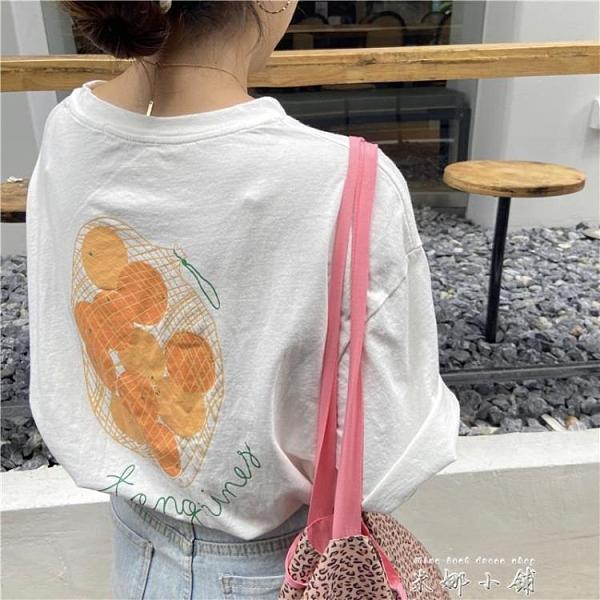 白色纯棉宽松上衣女2021年新款夏网红ins超火小众设计感短袖T恤潮 【米娜小鋪】