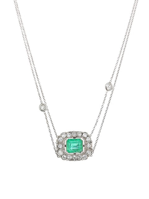 18K White Gold, Emerald & Diamond 2-Tier Chain Necklace