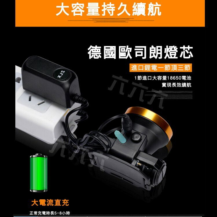 頭戴式遠射釣魚頭燈 自行車LED燈 強光鋰電池頭燈 戶外充電夜釣頭燈 露營頭燈 釣魚頭燈