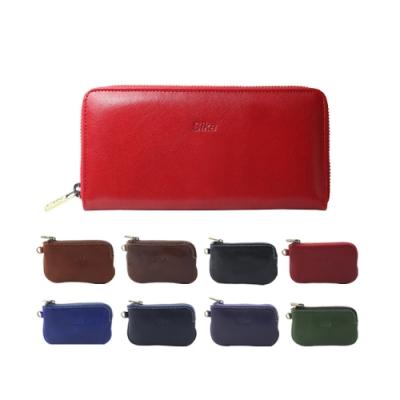 Sika義大利時尚真皮拉鍊式長夾A8236-04魅惑紅+Sika零錢包-A8227A