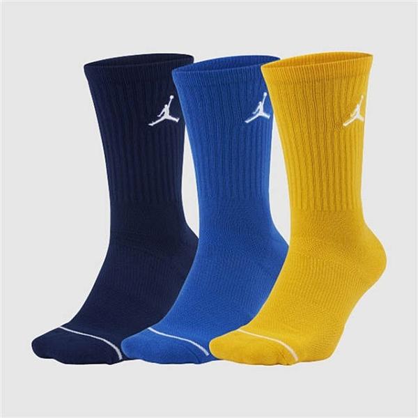 NIKE JORDAN DRY 籃球襪 長襪 藍黃 一組三入 SX5545-912