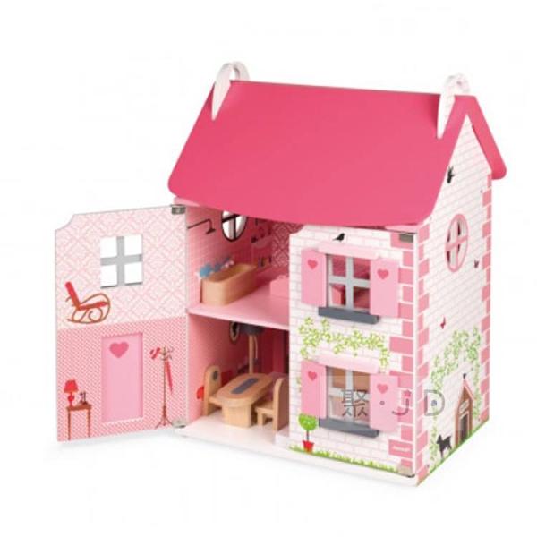 【法國 Janod】J06581 情境玩具 - Doll s House 粉夢幻娃娃屋