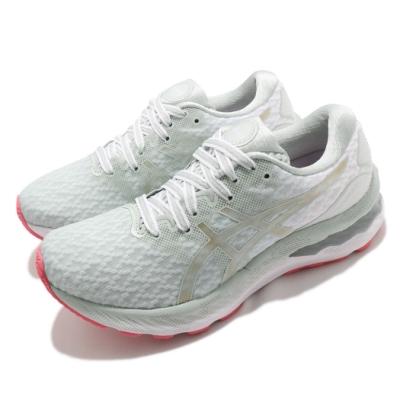 Asics 慢跑鞋 Gel-Nimbus 23 運動休閒 女鞋 亞瑟士 高緩衝 櫻花 避震 柔軟 亞瑟膠 綠 白 1012A999300