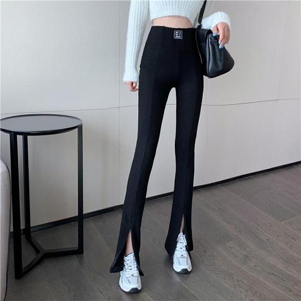 黑色褲子女港風直筒喇叭褲高腰垂感2021新款春季闊腿褲開叉休閒褲 美眉新品