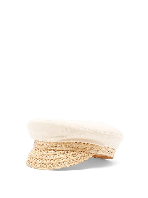 Ruslan Baginskiy - Straw-brim Canvas Baker Boy Cap - Womens - Cream Multi