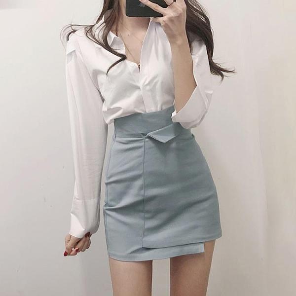半身裙設計感女小眾 白色不規則a字包臀裙高腰顯瘦黑色一步短裙夏 露露日記
