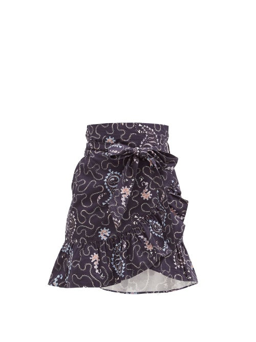 Isabel Marant Étoile - Liliko Fluted-hem Paisley-print Cotton Skirt - Womens - Navy