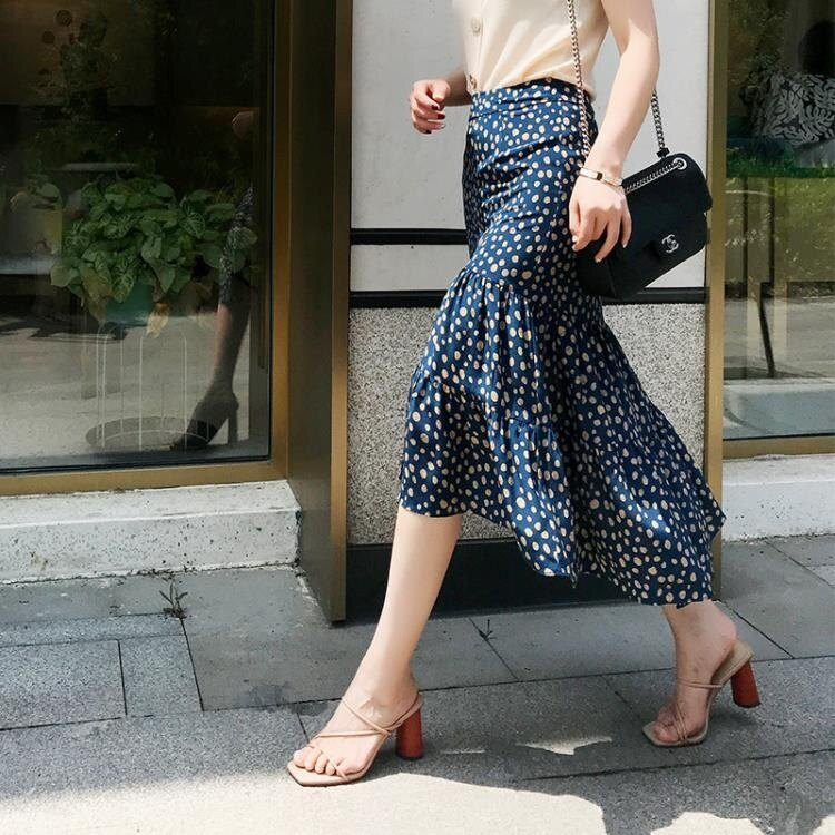 蛋糕裙 新款女裝夏季波點半身裙雪紡大擺半身長裙A字高腰收腰蛋糕裙