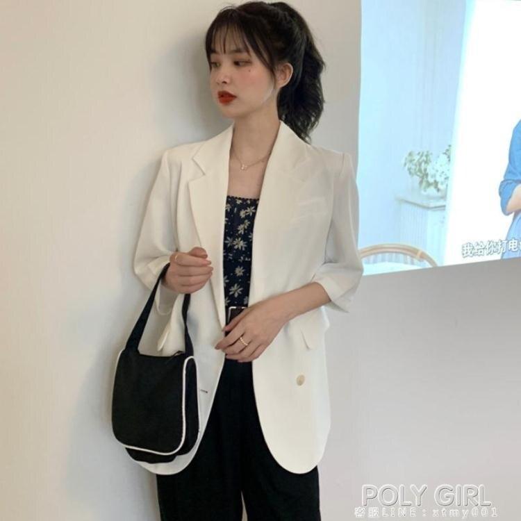 夏日新裝-白色短袖夏季休閒西裝外套女英倫風2021夏薄新款薄款防曬西服上衣