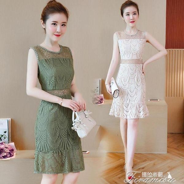 無袖連衣裙 2021夏季新款韓版修身中長款連衣裙收腰無袖蕾絲鏤空背心裙女 快速出貨