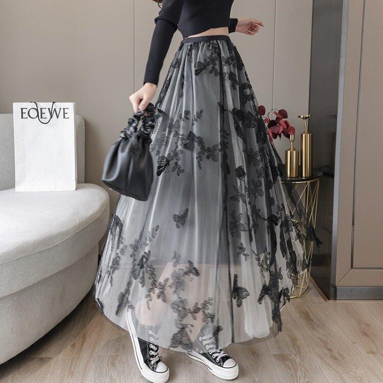 蛋糕裙 年秋季半身裙女中長款刺繡長裙白色蛋糕裙A字裙高腰網紗裙子