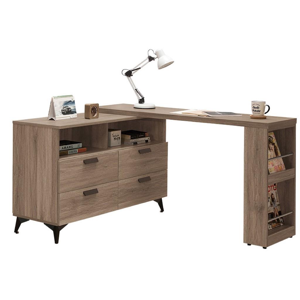 【135~235cm書桌-A528-2】工業風工作桌 書櫃型書桌 書桌加書櫃 【金滿屋】