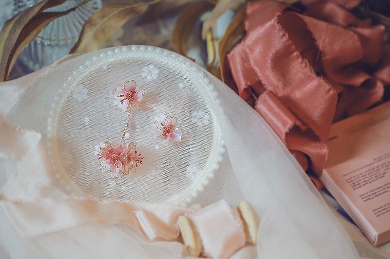 舞櫻 櫻花花球垂墜式水晶花樹脂 不對稱樹脂耳環 可改耳針耳夾