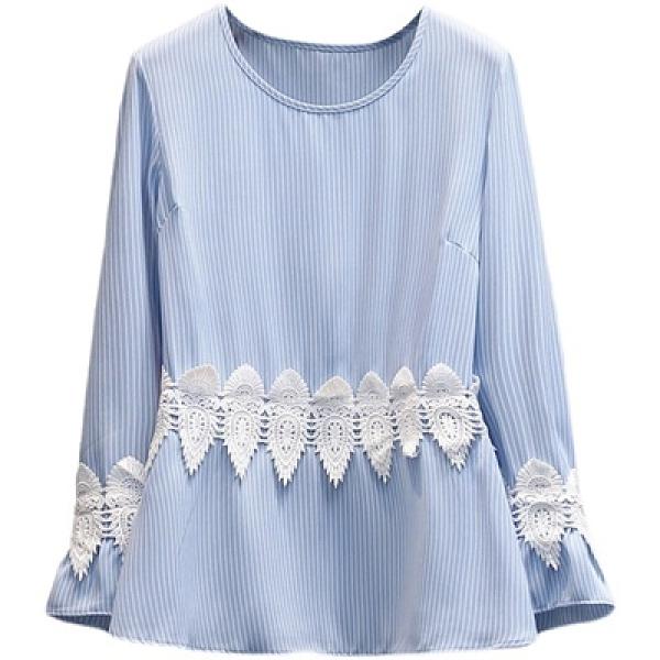 長袖襯衫春季新款條紋長袖蕾絲花邊拼接上衣X-143MR26韓衣裳