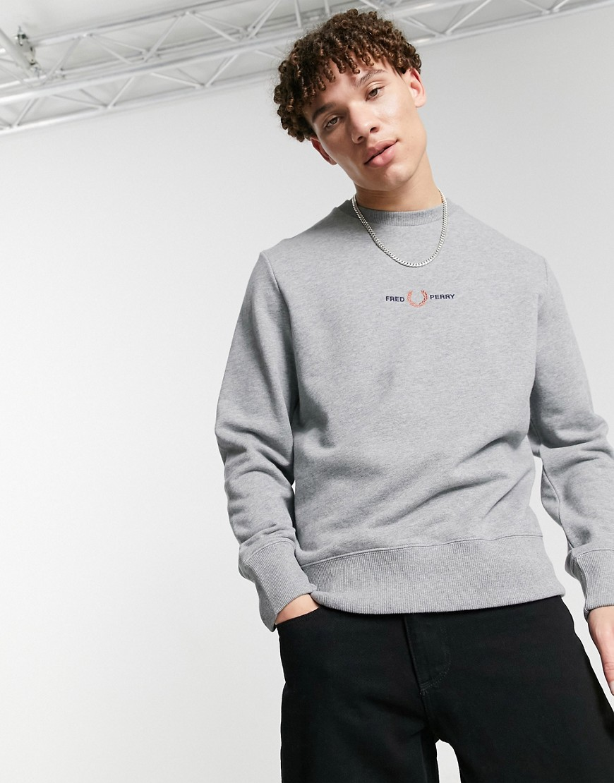 Fred Perry embroidered sweatshirt in grey