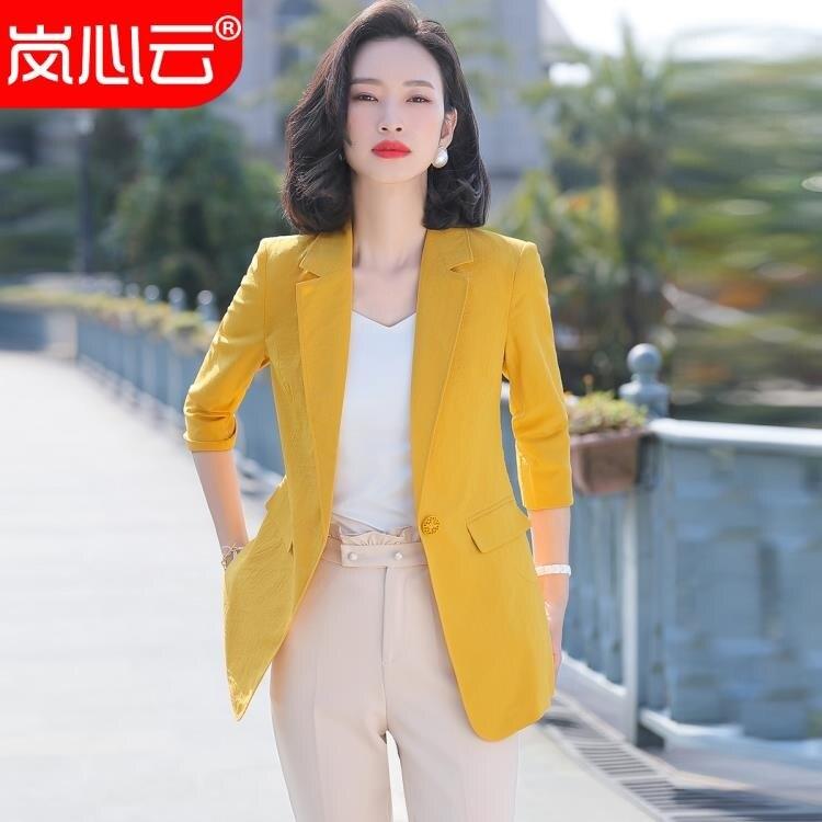 西裝外套 西裝外套女春夏新款休閑百搭韓版氣質小西裝時尚收腰黃色寬松上衣