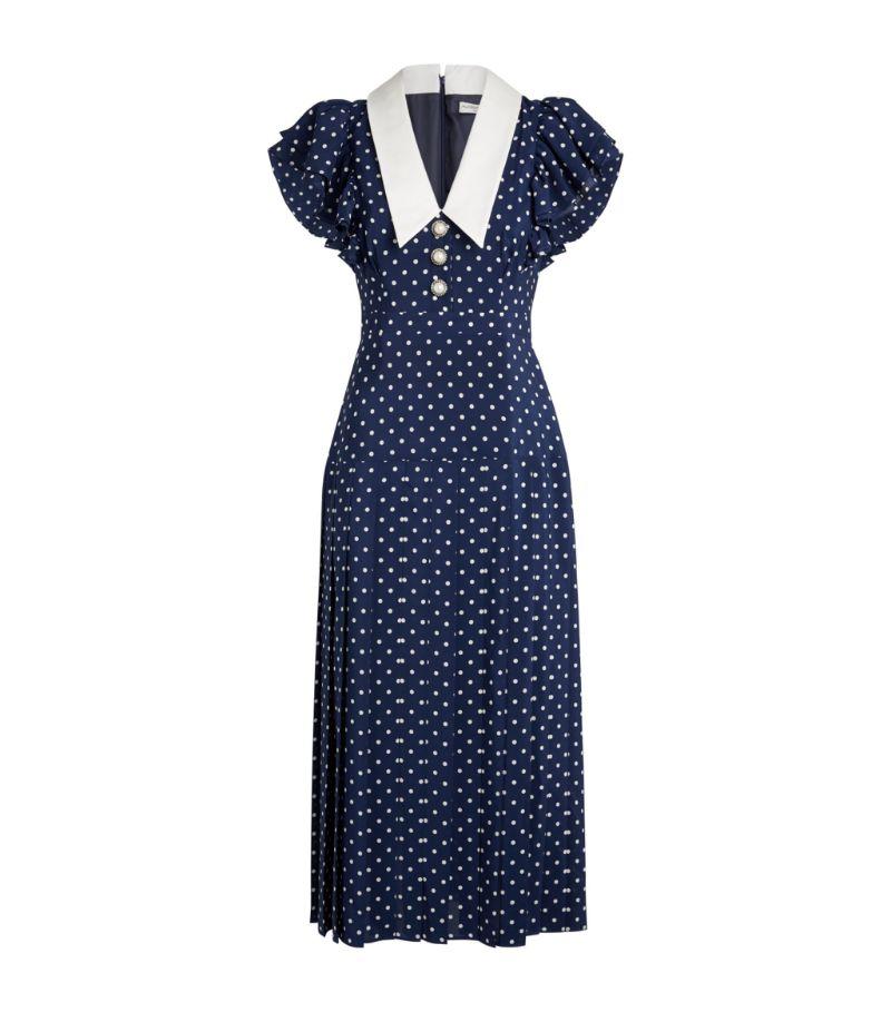 Alessandra Rich Silk Polka-Dot Midi Dress