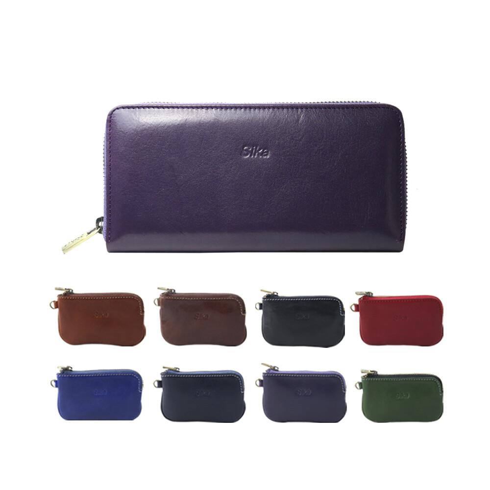 sika義大利時尚真皮拉鍊式長夾a8236-07木槿紫+sika零錢包-a8227a共(八色可挑選)