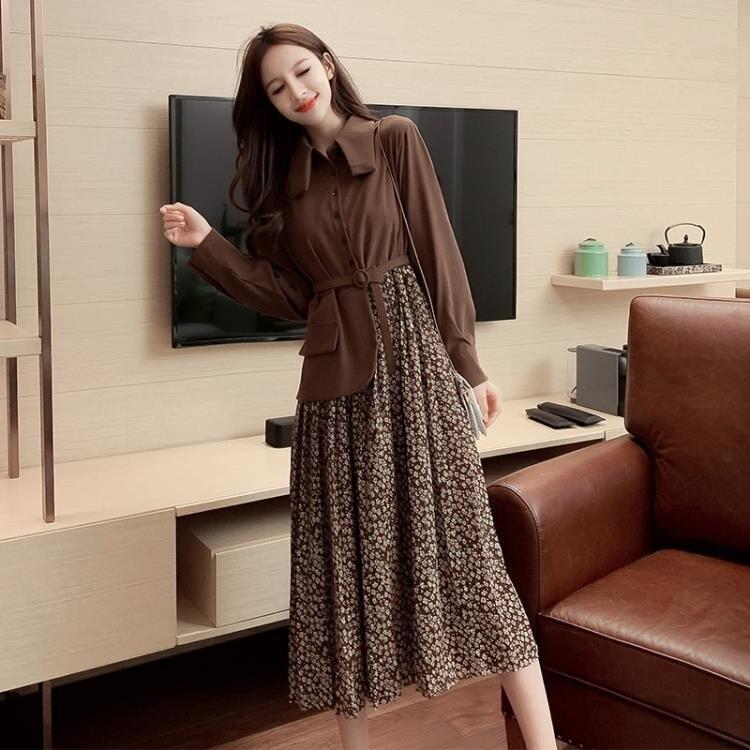 長袖洋裝 氣質顯瘦碎花拼接假兩件裙子女秋裝新款韓版長袖顯瘦連衣裙潮