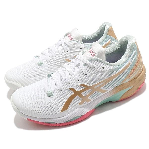 Asics 網球鞋 Solution Speed FF 2 L.E. 女鞋 綠 金 速度型 櫻花 特別版【ACS】 1042A142100