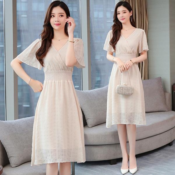 短袖洋裝輕熟風流行裙子夏季新款女裝很仙的法國小眾連身裙仙女超仙甜美長裙T105快時尚