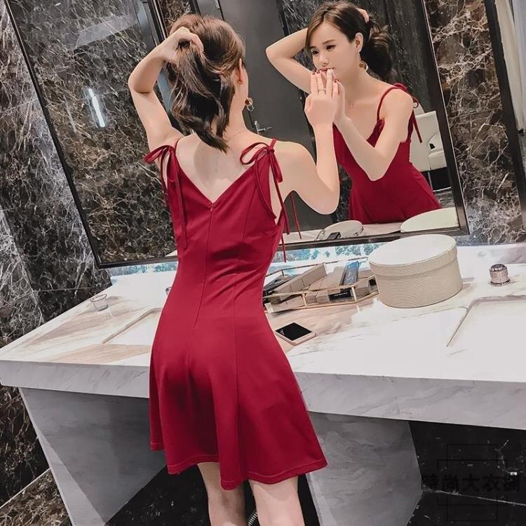 夏日新裝-夏季大碼女裝小性感V領吊帶連身裙修身顯瘦