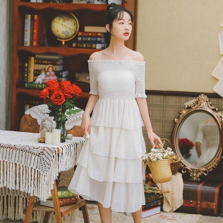 一字領洋裝 蛋糕裙連身裙粉色連身裙新款百褶裙