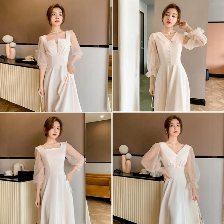伴娘服洋裝 姐妹團伴娘禮服冬季 2021年新款宴會氣質香檳色閨蜜連衣裙平時可穿