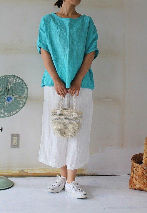 立陶宛亞麻套衫綠松石[定做產品]