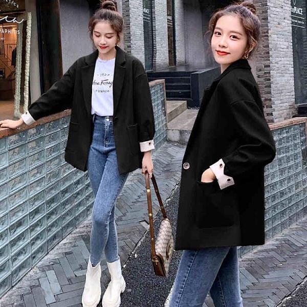 新款西服外套女2021年春秋韓版寬鬆時尚白領職業小西裝中長款 快速出貨