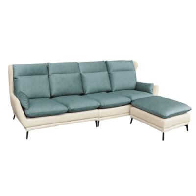 綠活居 塔林  質感雙色耐磨布&透氣皮革L型沙發組合(四人座+椅凳)-280x160x99cm免組