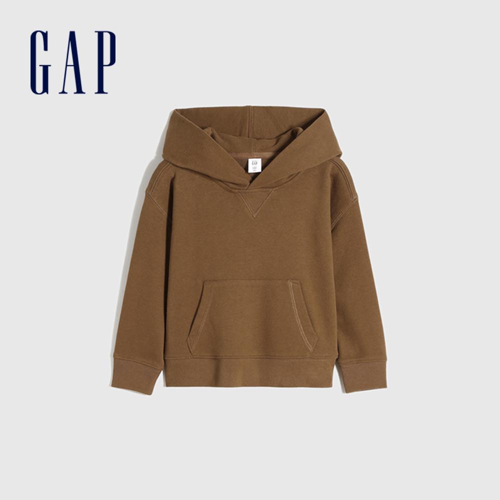 Gap 男幼童 簡約風純色運動連帽休閒上衣 747179-棕色