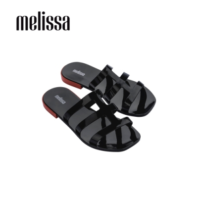 Melissa CARIBE線條方頭涼拖鞋-黑