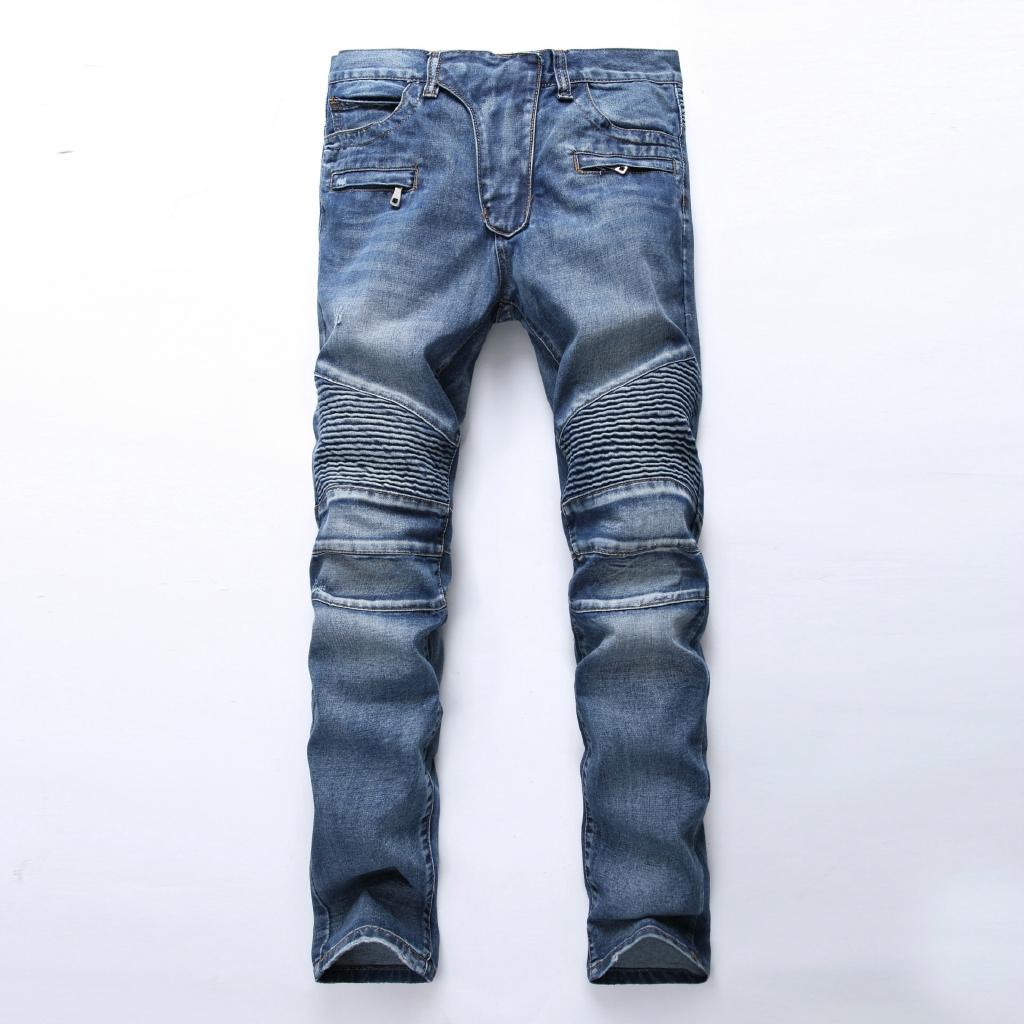 牛仔褲男 男裝牛仔褲 男士淺色褶皺修身直筒拉鍊裝飾機車褲