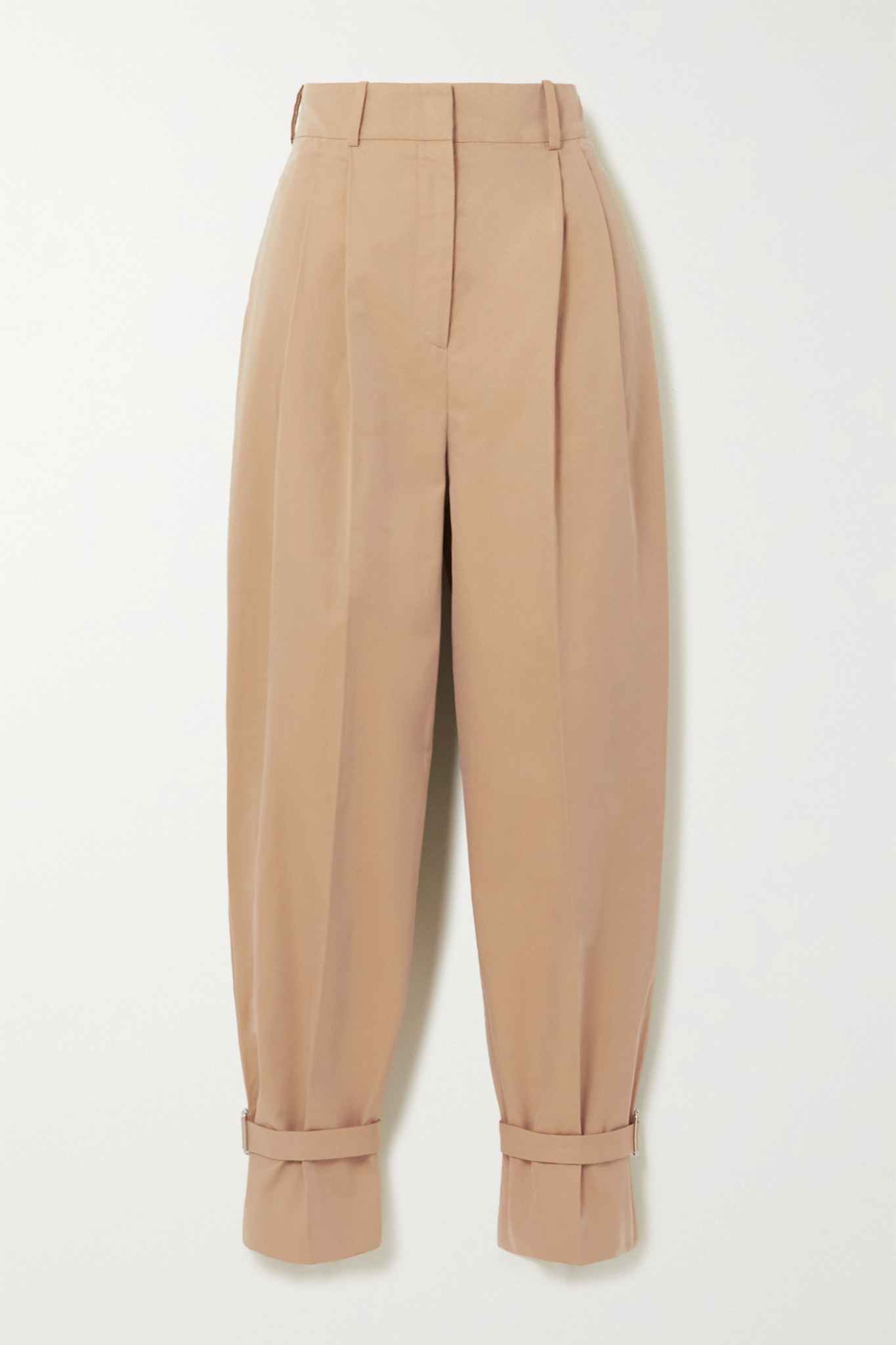 ALEXANDER MCQUEEN - Buckled Cotton-twill Tapered Pants - Brown - IT40